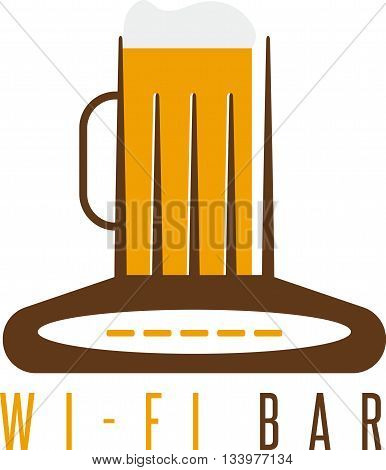 Negative Space Concept Of Router And Beer Mug