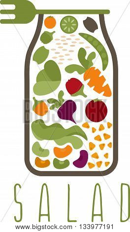 Salad In Jar With Fork Vector Design Template