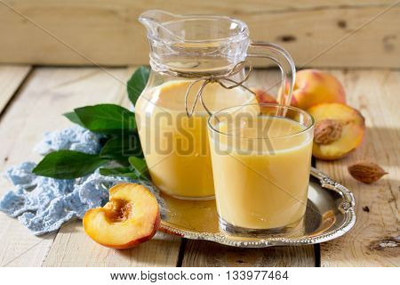 Milkshake Is Made From Peach, Mixed With Kefir Yogurt.