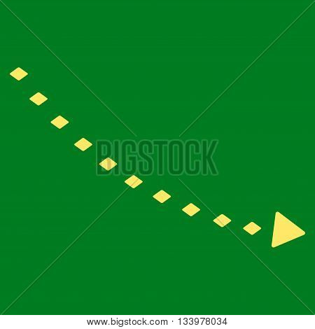 Dotted Decline Trend vector toolbar icon. Style is flat icon symbol, yellow color, green background, rhombus dots.