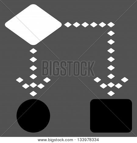 Algorithm Scheme vector toolbar icon. Style is bicolor flat icon symbol, black and white colors, gray background, rhombus dots.