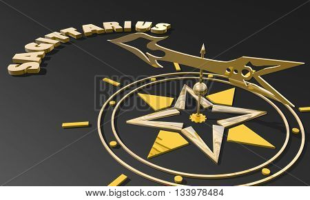 Archer astrology sign. Golden compass arrow point to astrological symbol name. 3D rendering