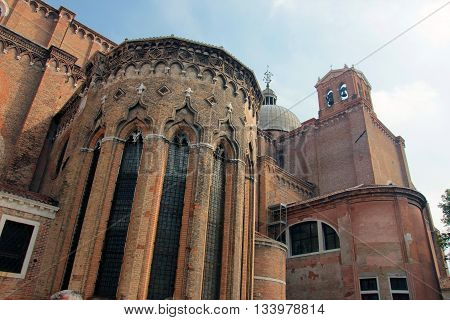 old ancient medieval gothic venetian catholic cathedral Santi Giovanni e Paolo with red brick walls in Venice Italy
