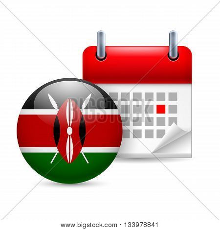 Calendar and round Kenyan flag icon. National holiday in Kenya