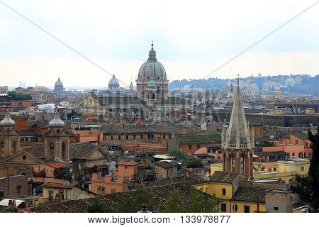 beautiful roman city landscape of rome with historical buildings