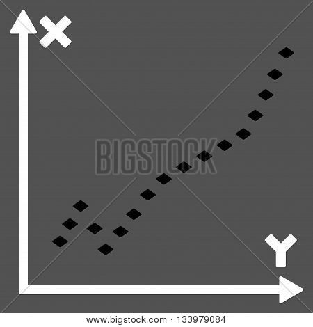 Dotted Function Plot vector toolbar icon. Style is bicolor flat icon symbol, black and white colors, gray background, rhombus dots.