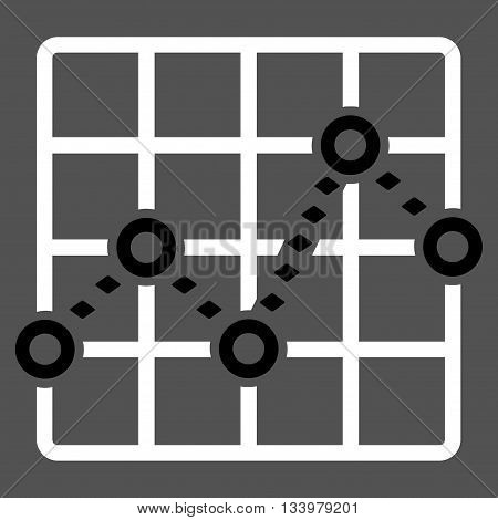 Dotted Line Grid Plot vector toolbar icon. Style is bicolor flat icon symbol, black and white colors, gray background, rhombus dots.