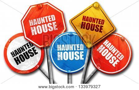 haunted house, 3D rendering, street signs