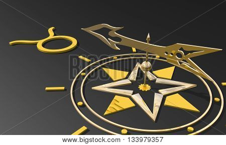 The bull astrology sign. Golden compass arrow point to astrological symbol. 3D rendering