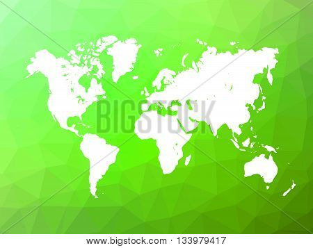 Map of World on low poly background. World map on background made of triangles. White vector illustration on green polygonal shape background.