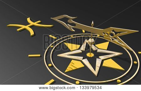 The fish astrology sign. Golden compass arrow point to astrological symbol name. 3D rendering