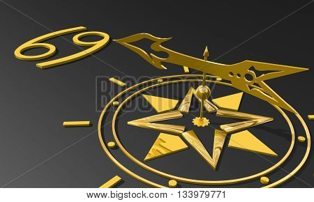 The crab astrology sign. Golden compass arrow point to astrological symbol. 3D rendering