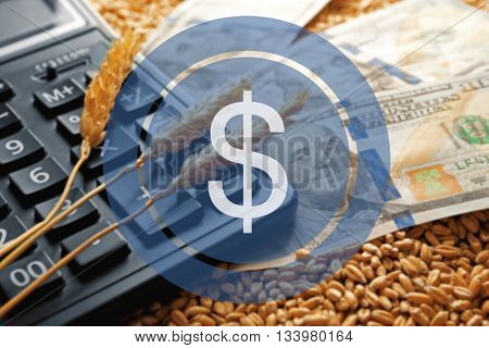 Dollar icon. Banknotes, calculator and wheat grains on wooden background. Agricultural income concept