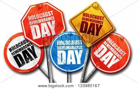 holocaust remembrance day, 3D rendering, street signs