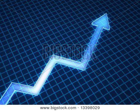 Graph arrow on blue