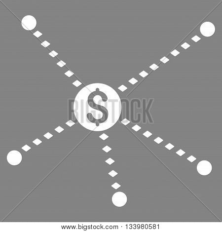 Dotted Financial Links vector toolbar icon. Style is flat icon symbol, white color, gray background, rhombus dots.