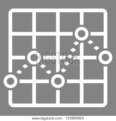 Dotted Line Grid Plot vector toolbar icon. Style is flat icon symbol, white color, gray background, rhombus dots.
