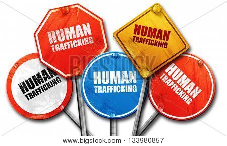 human trafficking, 3D rendering, street signs