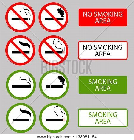 No Smoking, Cigarette, Smoke and Cigar Prohibited Symbols Isolated on Grey Background