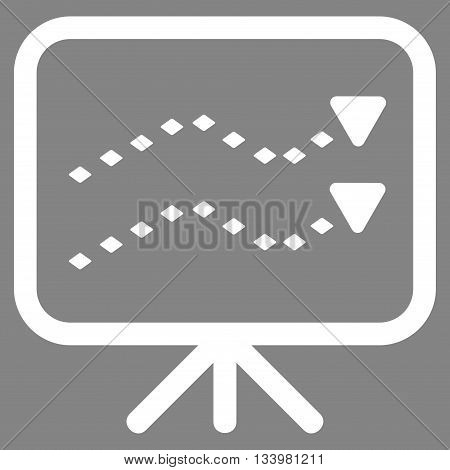 Dotted Trends Board vector toolbar icon. Style is flat icon symbol, white color, gray background, rhombus dots.