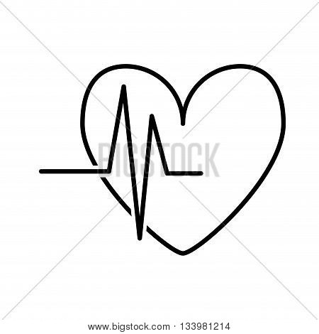 isolated heart rate linear design over white background , Vector