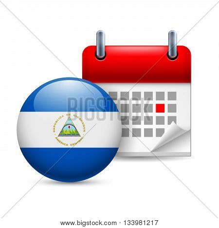 Calendar and round Nicaraguan flag icon. National holiday in Nicaragua