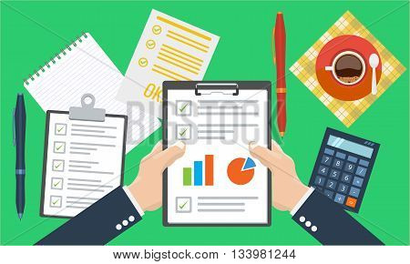 Businesman holding paper sheet in hands, paperwork, consultant, financial audit, financial research report, auditing tax process, data analysis, seo analytics, market stats calculate in vector