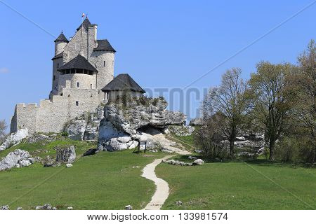 Bobolice castle - old fortress in Poland. Landmark in Europe.