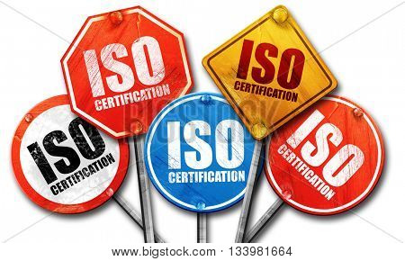 iso certification, 3D rendering, street signs