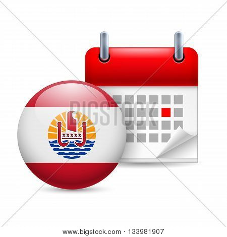 Calendar and round flag icon. National holiday in French Polynesia