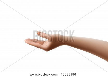Well retouched female hand giving of getting something. Object isolated on white with clipping paths