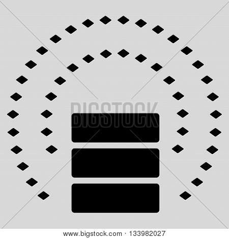 Database Sphere Shield vector toolbar icon. Style is flat icon symbol, black color, light gray background, rhombus dots.