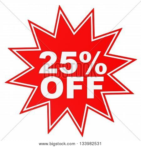 Discount 25 Percent Off. 3D Illustration.