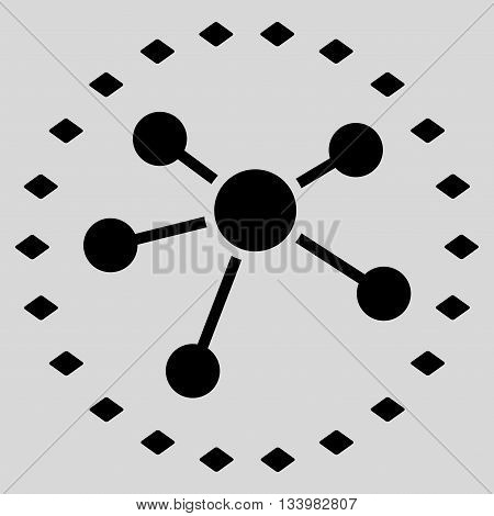Dotted Links Diagram vector toolbar icon. Style is flat icon symbol, black color, light gray background, rhombus dots.