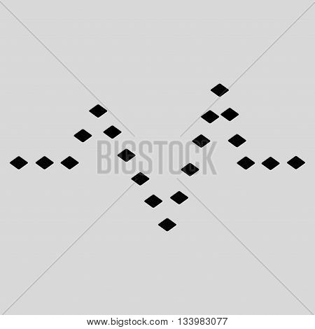 Dotted Pulse vector toolbar icon. Style is flat icon symbol, black color, light gray background, rhombus dots.