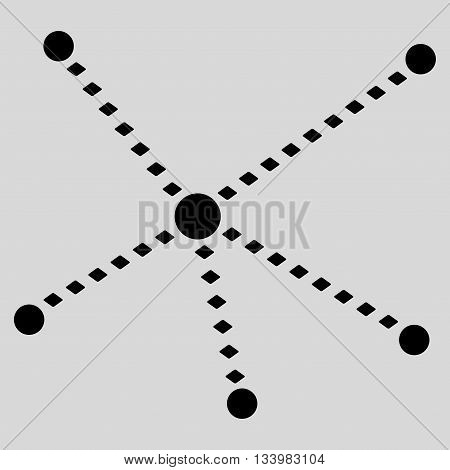 Dotted Relations vector toolbar icon. Style is flat icon symbol, black color, light gray background, rhombus dots.