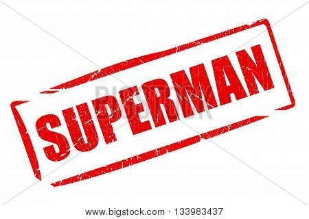 Superman rubber stamp isolated on white background