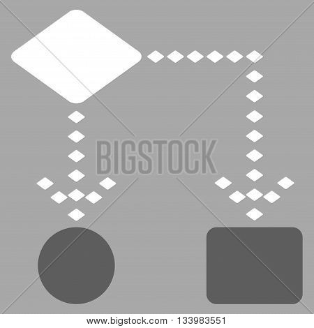 Algorithm Scheme vector toolbar icon. Style is bicolor flat icon symbol, dark gray and white colors, silver background, rhombus dots.