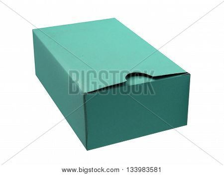 Cyan cardboard box isolated on a White background