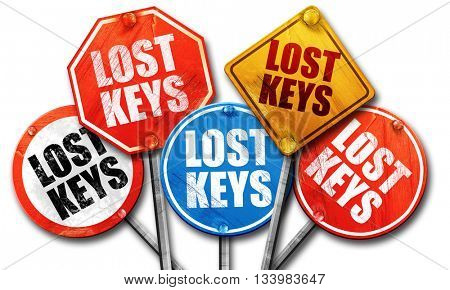 lost keys, 3D rendering, street signs