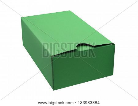 Green cardboard box isolated on a White background