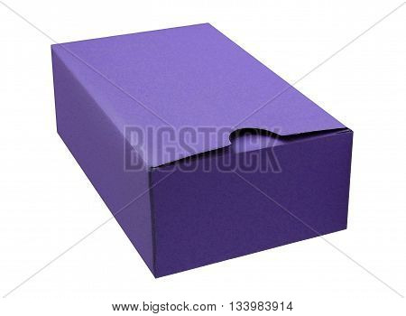 Purple cardboard box isolated on a White background