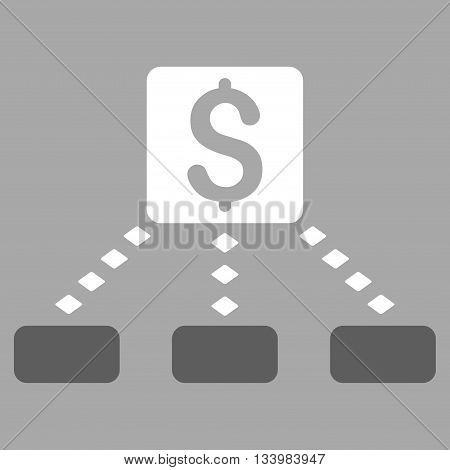 Cashout Scheme vector toolbar icon. Style is bicolor flat icon symbol, dark gray and white colors, silver background, rhombus dots.