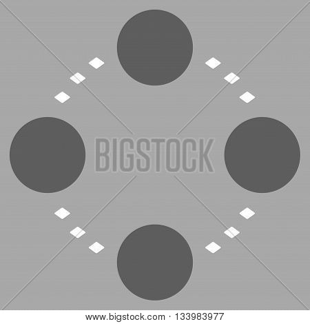Circular Relations vector toolbar icon. Style is bicolor flat icon symbol, dark gray and white colors, silver background, rhombus dots.