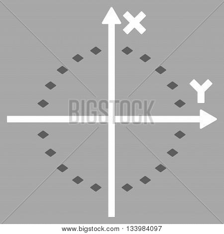 Dotted Circle Plot vector toolbar icon. Style is bicolor flat icon symbol, dark gray and white colors, silver background, rhombus dots.