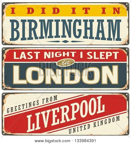 Retro tin sign collection with UK city names. Vintage vector souvenir sign or postcard templates. Travel theme. Places to visit and remember.