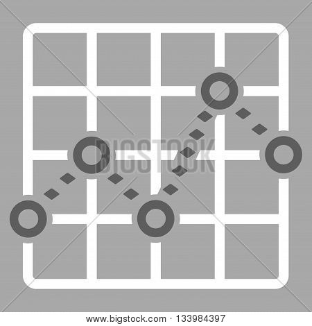 Dotted Line Grid Plot vector toolbar icon. Style is bicolor flat icon symbol, dark gray and white colors, silver background, rhombus dots.