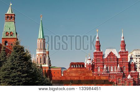 The Kremlin, the mausoleum and the historic museum - a part of ensamble of Red square in Moscow. Russia