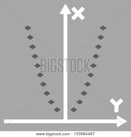 Dotted Parabola Plot vector toolbar icon. Style is bicolor flat icon symbol, dark gray and white colors, silver background, rhombus dots.