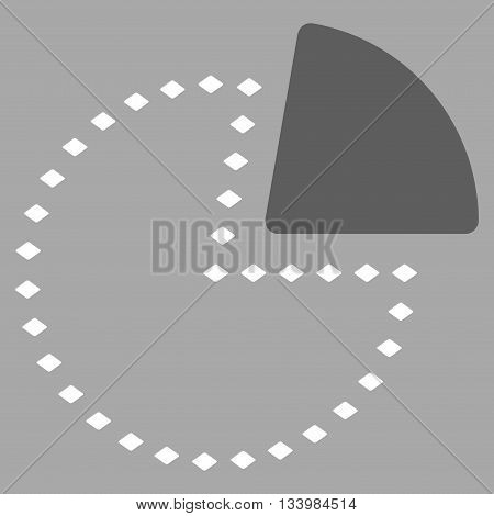 Dotted Pie Chart vector toolbar icon. Style is bicolor flat icon symbol, dark gray and white colors, silver background, rhombus dots.